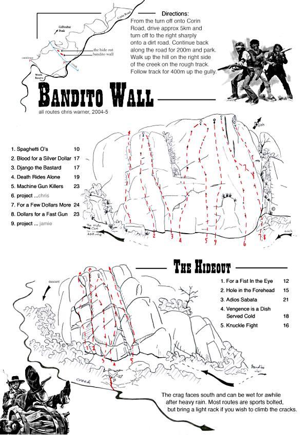 Bandito Wall routes map